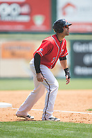 Mac Williamson (7) of the Richmond Flying Squirrels takes his lead off of third base against the Bowie Baysox at The Diamond on May 25, 2015 in Richmond, Virginia.  The Flying Squirrels defeated the Baysox 6-1. (Brian Westerholt/Four Seam Images)