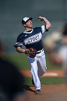UW-Stout Blue Devils pitcher Jake Brehm (14) during the first game of a doubleheader against the Edgewood Eagles on March 16, 2015 at Lee County Player Development Complex in Fort Myers, Florida.  UW-Stout defeated Edgewood 6-1.  (Mike Janes/Four Seam Images)