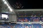 18.3.2021 Rangers v Slavia Prague: Rangers fans let off fireworks at kick-off
