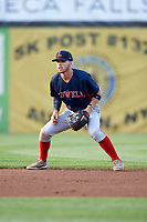 Lowell Spinners shortstop Korby Batesole (12) during a game against the Auburn Doubledays on July 13, 2018 at Falcon Park in Auburn, New York.  Lowell defeated Auburn 8-5.  (Mike Janes/Four Seam Images)
