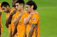 CARSON, CA - OCTOBER 28: Zarek Valentin #4 of the Houston Dynamo in a Houston wall during a game between Houston Dynamo and Los Angeles FC at Banc of California Stadium on October 28, 2020 in Carson, California.