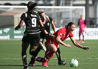 Kandace Wilson (9) and Kristen Graczyk (center) against Abby Wambach (right).  Washington Freedom defeated FC Gold Pride 4-3 at Buck Shaw Stadium in Santa Clara, California on April 26, 2009.