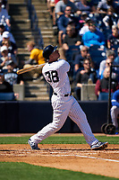 New York Yankees Erik Kratz (38) bats during a Spring Training game against the Toronto Blue Jays on February 22, 2020 at the George M. Steinbrenner Field in Tampa, Florida.  (Mike Janes/Four Seam Images)
