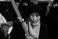 "Teheran, Iran, April 20, 2007.The Basiji (""Mobilized""), hard-line faction of the Iranian regime, have organized a demonstration at the end of the friday prayer to reinforce the women dress code restrictions..."