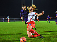 Lotte De Wilde (19) of Zulte-Waregem pictured with Britt Vanhamel (4) of Anderlecht during a female soccer game between RSC Anderlecht Dames and SV Zulte Waregem on the 10 th matchday of the 2020 - 2021 season of Belgian Womens Super League , friday 18 th of December 2020  in Tubize , Belgium . PHOTO SPORTPIX.BE | SPP | DAVID CATRY