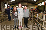 Aine and Aoife Ní Dhúbhda with Shauna O'Sullivan at the charity threshing event at the Dingle Mart on Saturday.