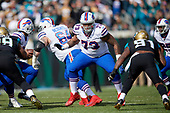 Buffalo Bills tackle Dion Dawkins (73) blocks during an NFL Wild-Card football game against the Jacksonville Jaguars, Sunday, January 7, 2018, in Jacksonville, Fla.  (Mike Janes Photography)