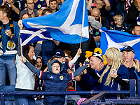 4th September 2021; Hampden Park, Glasgow, Scotland: FIFA World Cup 2022 qualification football, Scotland versus Moldova: Scotland fans get animated in the stands