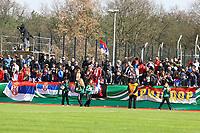 Viele Serbische Fans unterstützen ihre U19 - 25.03.2017: U19 Deutschland vs. Serbien, Sportpark Kelsterbach