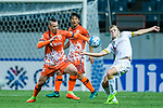 Adelaide United Midfielder Riley Patrick Mcgree (R) fights for the ball with  Jeju United Forward Marcelo Toscano (L) during the AFC Champions League 2017 Group Stage - Group H match between Jeju United FC (KOR) vs Adelaide United (AUS) at the Jeju World Cup Stadium on 11 April 2017 in Jeju, South Korea. Photo by Marcio Rodrigo Machado / Power Sport Images