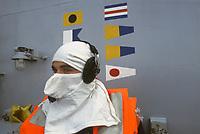 - Esercitazioni NATO in mar Mediterraneo, aprile 1996, personale in tenuta anti-flash a bordo della nave portarei Garibaldi<br /> <br /> - NATO exercises in the Mediterranean Sea, April 1996, personnel in anti-flash gear on deck of Italian Navy Garibaldi carrier ship