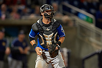 Biloxi Shuckers catcher Max McDowell (4) checks the runner during a Southern League game against the Pensacola Blue Wahoos on May 3, 2019 at Admiral Fetterman Field in Pensacola, Florida.  Pensacola defeated Biloxi 10-8.  (Mike Janes/Four Seam Images)