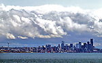 Seattle skyline from Elliot Bay.<br /> The Space Needle anchors the north end and the WaMu tower anchors the south end of the skyline.