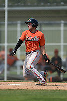 Baltimore Orioles catcher Austin Wynns (48) during a minor league spring training game against the Boston Red Sox on March 20, 2015 at the Buck O'Neil Complex in Sarasota, Florida.  (Mike Janes/Four Seam Images)
