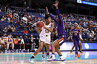 GREENSBORO, NC - MARCH 6: Taylor Soule #13 of Boston College is guarded by Tylar Bennett #55 of Clemson University during a game between Clemson and Boston College at Greensboro Coliseum on March 6, 2020 in Greensboro, North Carolina.