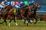 DEL MAR, CA  AUGUST 21: #6 Mo Forza, ridden by Flavien Prat, #3 Smooth Like Strait, ridden by Umberto Rispoli, and #1 Neptune's Storm, ridden by Juan Hernandez, in the stretch of the Del Mar Mile (Grade ll) on August 21, 2021 at Del Mar Thoroughbred Club in Del Mar, CA. (Photo by Casey Phillips/Eclipse Sportswire/CSM)
