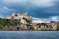Ibiza Town and the cathedral of Santa Maria d'Eivissa, Balearic Islands,  Spain.