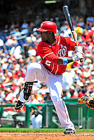 20 June 2010: Washington Nationals' outfielder Roger Bernadina at bat against the Chicago White Sox at Nationals Park in Washington, DC. The Nationals were swept by the White Sox falling 6-3 in the last game of their 3-game interleague series. Mandatory Credit: Ed Wolfstein Photo