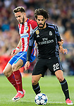 Isco Alarcon (r) of Real Madrid fights for the ball with Saul Niguez Esclapez of Atletico de Madrid during their 2016-17 UEFA Champions League Semifinals 2nd leg match between Atletico de Madrid and Real Madrid at the Estadio Vicente Calderon on 10 May 2017 in Madrid, Spain. Photo by Diego Gonzalez Souto / Power Sport Images
