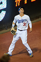 Los Angeles Dodgers outfielder Joc Pederson gets under a fly ball during the MLB All-Star Game on July 14, 2015 at Great American Ball Park in Cincinnati, Ohio.  (Mike Janes/Four Seam Images)