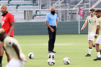 CARY, NC - AUGUST 01: Tommy Soehn watches his team during a game between Birmingham Legion FC and North Carolina FC at Sahlen's Stadium at WakeMed Soccer Park on August 01, 2020 in Cary, North Carolina.
