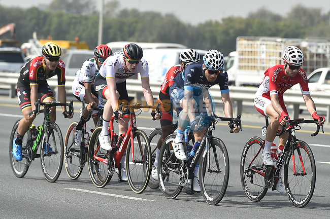 The breakaway group in action during Stage 2 The Ras Al Khaimah Stage of the Dubai Tour 2018 the Dubai Tour's 5th edition, running 190km from Skydive Dubai to Ras Al Khaimah, Dubai, United Arab Emirates. 7th February 2018.<br /> Picture: LaPresse/Fabio Ferrari | Cyclefile<br /> <br /> <br /> All photos usage must carry mandatory copyright credit (© Cyclefile | LaPresse/Fabio Ferrari)