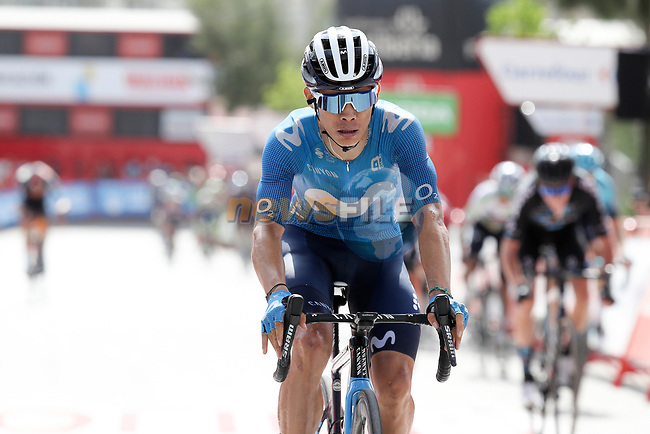 Miguel Angel Lopez Moreno (COL) Movistar Team crosses the finish line at the end of Stage 11 of La Vuelta d'Espana 2021, running 133.6km from Antequera to Valdepeñas de Jaén, Spain. 25th August 2021.     <br /> Picture: Luis Angel Gomez/Photogomezsport | Cyclefile<br /> <br /> All photos usage must carry mandatory copyright credit (© Cyclefile | Luis Angel Gomez/Photogomezsport)