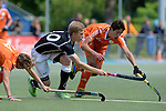 GER - Mannheim, Germany, May 16: During the whitsun tournament boys hockey match between Germany (black) and The Netherlands (orange) on May 16, 2016 at Mannheimer HC in Mannheim, Germany. Final score 4-3 (HT 2-0). (Photo by Dirk Markgraf / www.265-images.com) *** Local caption *** (L-R) Floris Middendorp #14 of The Netherlands, Mario Schachner #10 of Germany (U16), Valentijn Charbon #6 of The Netherlands