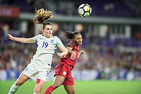 Orlando, FL - Wednesday March 07, 2018: Mel Lawley, Crystal Dunn during the She Believes Final Cup Match featuring USA Women's National Team vs. Englands Women's National Team