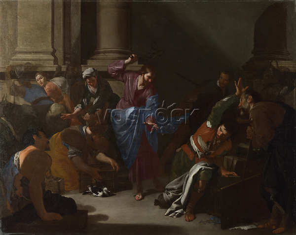 Full title: Christ driving the Traders from the Temple<br /> Artist: Bernardo Cavallino<br /> Date made: about 1645-50