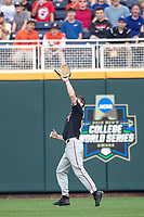 Texas Tech Red Raiders outfielder Dylan Neuse (9) makes a catch during Game 9 of the NCAA College World Series against the Florida State Seminoles on June 19, 2019 at TD Ameritrade Park in Omaha, Nebraska. Texas Tech defeated Florida State State 4-1. (Andrew Woolley/Four Seam Images)