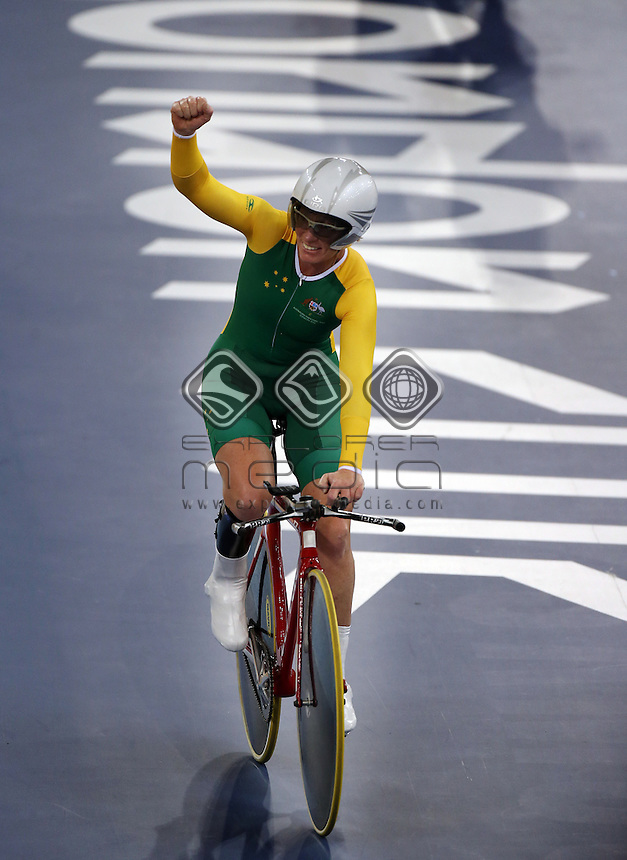 Susan Powell (AUS) after winning the Women's C4 Individual Pursuit.<br /> Track Cycling, Velodrome, Olympic Park (Thursday 29th Aug)<br /> Paralympics - Summer / London 2012<br /> London England 29 Aug - 9 Sept <br /> © Sport the library/Joseph Johnson