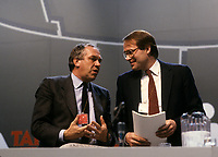 Montreal (Qc) Canada  file Photo -  march 1987 - NDP national convention in Montreal -- Ed Broadbent, New Democratic Party  (NPD) Leader  (L) and Ken Dryden (R)