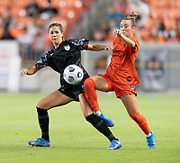 HOUSTON, TX - SEPTEMBER 10: Katie Johnson #33 of the Chicago Red Stars and Gabby Seiler #5 of the Houston Dash battle for control of the ball during a game between Chicago Red Stars and Houston Dash at BBVA Stadium on September 10, 2021 in Houston, Texas.