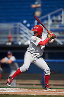 Auburn Doubledays right fielder Juan Soto (26) at bat during the second game of a doubleheader against the Batavia Muckdogs on September 4, 2016 at Dwyer Stadium in Batavia, New York.  Batavia defeated Auburn 6-5. (Mike Janes/Four Seam Images)