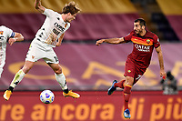 Daam Foulon of Benevento Calcio and Henrikh Mkhitaryan of AS Roma compete for the ball during the Serie A football match between AS Roma and Benevento Calcio at Olimpico stadium in Roma (Italy), October 18th, 2020. Photo Antonietta Baldassarre / Insidefoto