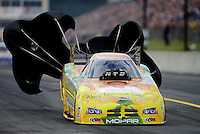 Oct. 6, 2012; Mohnton, PA, USA: NHRA funny car driver Johnny Gray during qualifying for the Auto Plus Nationals at Maple Grove Raceway. Mandatory Credit: Mark J. Rebilas-