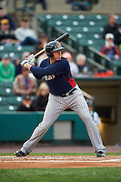Toledo Mudhens first baseman Mike Hessman (27) at bat during a game against the Rochester Red Wings on May 12, 2015 at Frontier Field in Rochester, New York.  Toledo defeated Rochester 8-0.  (Mike Janes/Four Seam Images)