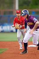 Palm Beach Cardinals shortstop Kramer Robertson (3) chases Robbie Tenerowicz (1) in a rundown during a game against the Charlotte Stone Crabs on April 21, 2018 at Charlotte Sports Park in Port Charlotte, Florida.  Charlotte defeated Palm Beach 5-2.  (Mike Janes/Four Seam Images)