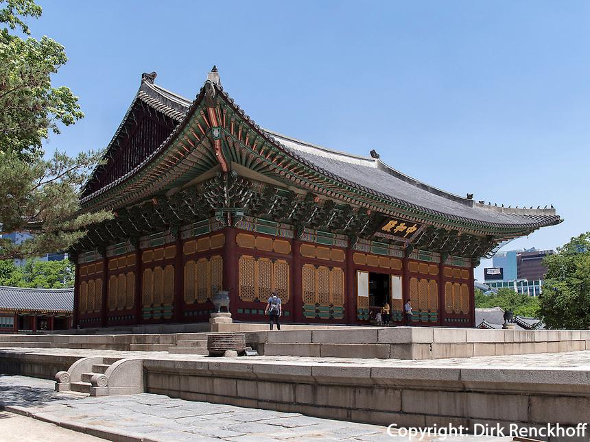 Halle der mittleren Harmonie Junghwajeon im Palast Deoksugung in Seoul, Südkorea, Asien<br /> Hall of middle harmony Junghwajeon in palace Deoksugung, Seoul, South Korea, Asia