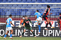 Edoardo Goldaniga of Genoa scores the goal of 1-1 during the Serie A football match between Genoa CFC and SSC Napoli stadio Marassi in Genova ( Italy ), July 08th, 2020. Play resumes behind closed doors following the outbreak of the coronavirus disease. <br /> Photo Matteo Gribaudi / Image / Insidefoto