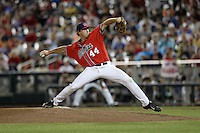 Aaron Greenwood #44 of the Ole Miss Rebels pitches during Game 4 of the 2014 Men's College World Series between the Virginia Cavaliers and Ole Miss Rebels at TD Ameritrade Park on June 15, 2014 in Omaha, Nebraska. (Brace Hemmelgarn/Four Seam Images)