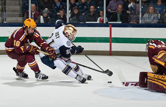 Nov 8, 2013; Hockey vs Minnesota, Bryan Rust (21).<br /> <br /> Photo by Matt Cashore/University of Notre Dame