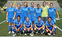 The starting lineup for the Boston Breakers.  The Boston Breakers scored two goals in the second half to pull out a 2-1 victory over the Philadelphia Independence at John A Farrell Stadium in West Chester, PA.