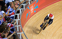06 AUG 2012 - LONDON, GBR - Laura Trott (GBR) of Great Britain warms up for her Flying Lap during the first day of the Women's Omnium in the London 2012 Olympic Games track cycling at the Olympic Park Velodrome in Stratford, London, Great Britain .(PHOTO (C) 2012 NIGEL FARROW)