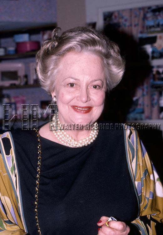 Olivia De havilland  on April 12, 1985 in New York City.