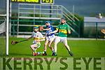 Fionan Egan of St Brendans raises the green flag despite the challenge from Lixnaw keeper Sean Shanahan and team mate Kieran Walsh in the County Minor Hurling championship quarter final on Friday.