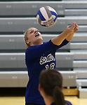 Marymount's Johanna Hummel passes during a college volleyball match at Washington & Lee University Lexington, Vir., on Saturday, Oct. 5, 2013.<br /> Photo by Cathleen Allison