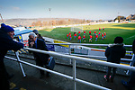 Stocksbridge players warming up. Stocksbridge Park Steels v Pickering Town, Evo-Stik East Division, 17th November 2018. Stocksbridge Park Steels were born from the works team of the local British Steel plant that dominates the town north of Sheffield.<br />