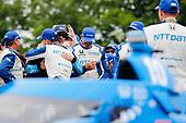 #10: Alex Palou, Chip Ganassi Racing Honda celebrates winning, #48: Jimmie Johnson, Chip Ganassi Racing Honda